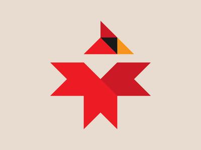 Cardinal Logo minimal brand design icon symbol logo state bird ohio cardinal wings bird nature