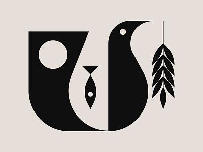 Nature illustration organic nature illustrator wheat tree branch olive fish tail dove bird