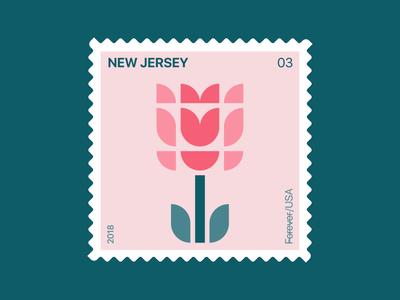 New Jersey Stamp icon nature illustration usa logo symbol flower tulip postage philately new jersey
