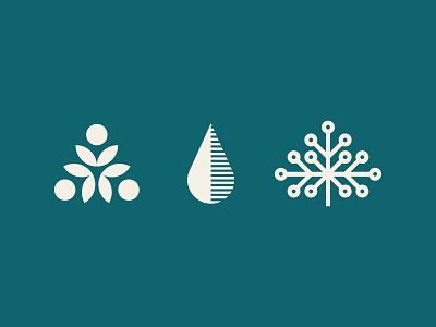 Nature Icons - plant based milk organice tree water drop leaf modern water beverage branding icons plant based