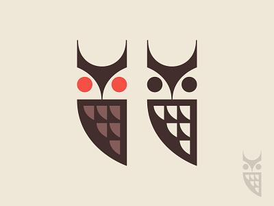 Owls feathers bird mark nature symbol logo icon owl