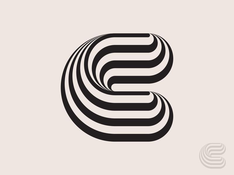 Letter C swirls logotype typography c