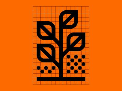 Agriculture nature illustration grid symbol icon rain seeds leaves midwest farming plant