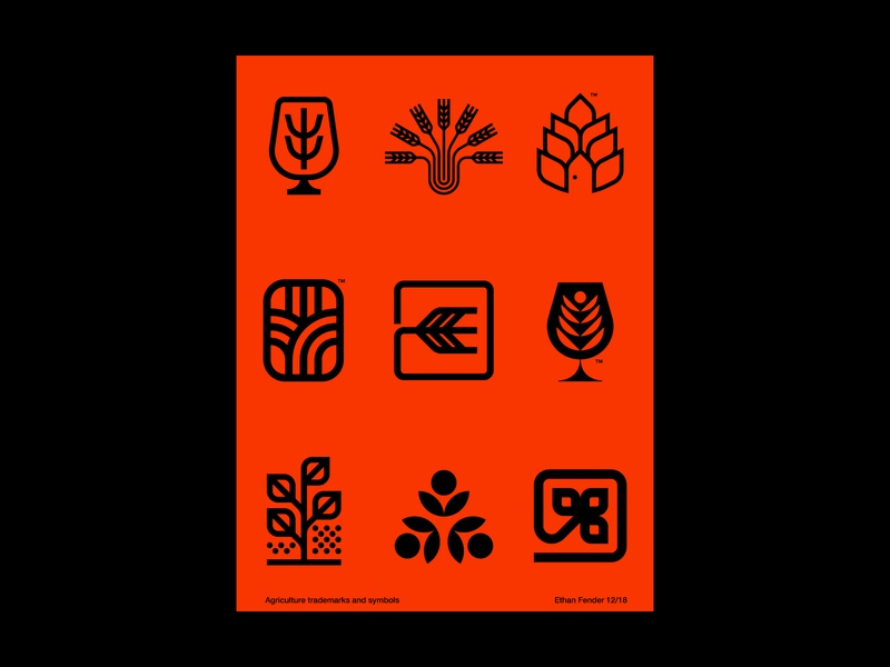 Midwest things icons corn leaves seeds hops plant nature agriculture harvest beer wheat