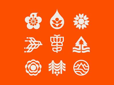 Nature symbols compilation water tree bird sun park hike explore branding icon symbols nature
