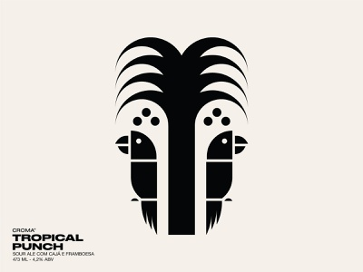 Tropical Punch illustration icon label beer packaging branding bird parrot palm tree coconut fruit tropical