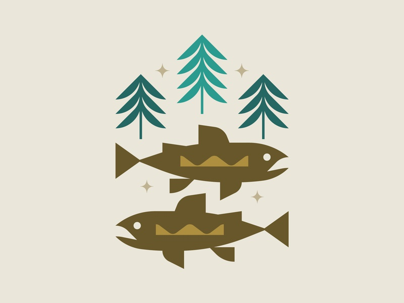 Trout illustration stars trees colorado fish trout
