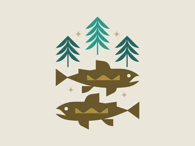 Trout illustration stars trees colorado fish trout