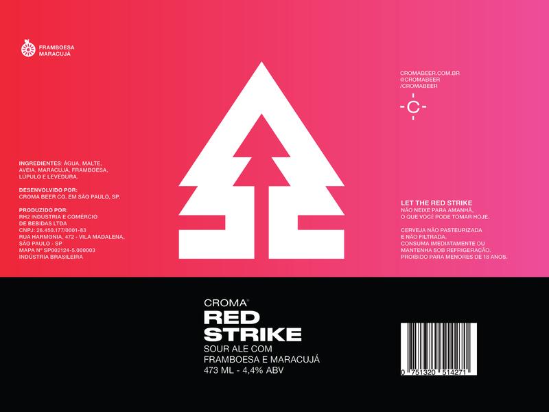 Red Strike beer label symbol nature icon pine tree beer craft beer microbrewery packaging ale sour ale beer label