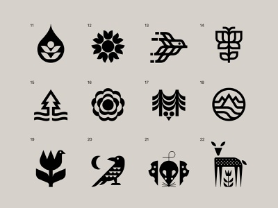 Nature Symbols 11-22 ui branding modern bird mark nature symbol illustration icon logo