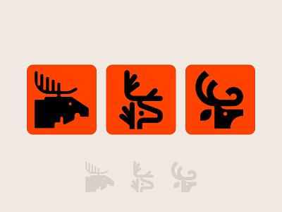 Deer logos deer head zoo symbol icon branding logo nature winter reindeer caribou elk moose antlers deer