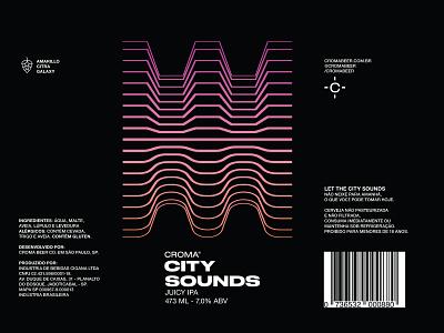 City Sounds Beer Label ne ipa hazy ipa juicy ipa ipa craft beer packaging packaging design technology sounds waves beer art beer branding beer can beer label