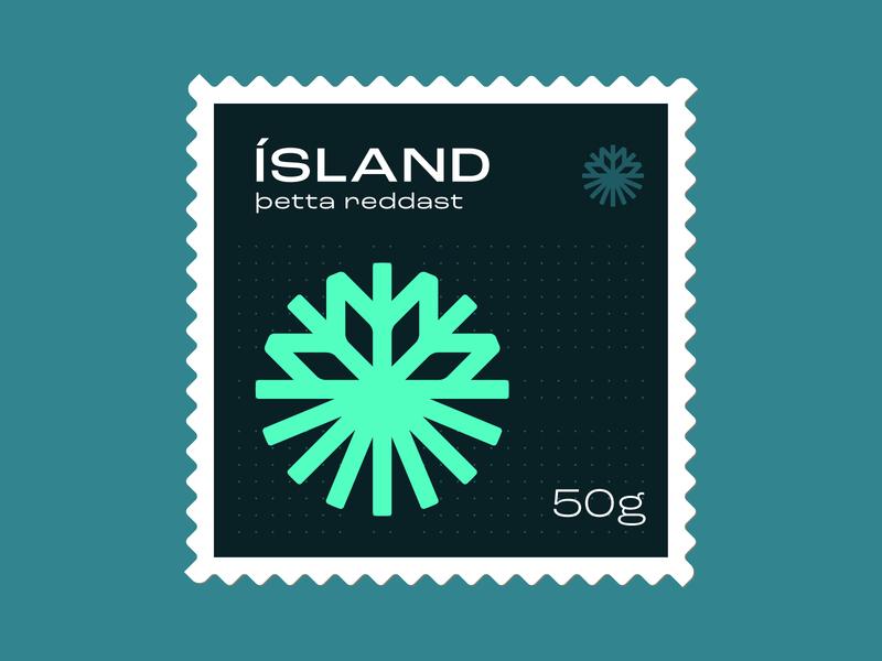 Iceland Stamp nature illustration symbol icon logo postage postage stamp stamp snowflake iceland