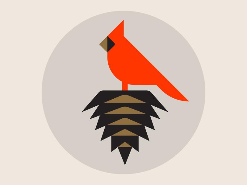 Cardinal Pinecone nature symbol winter sequoia cedar bird illustration pinecone cardinal