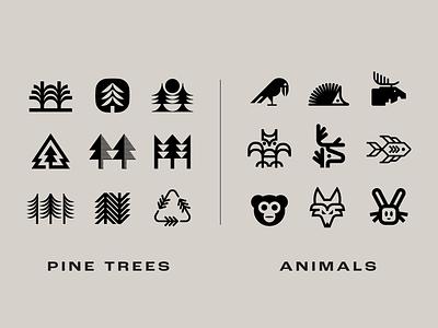 T-shirt design options icons symbols t-shirt animals nature pine tree trees