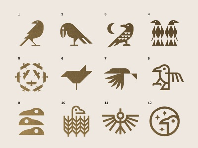 Corvus gold logo nature icon symbol mystic viking raven zoo birds bird crow