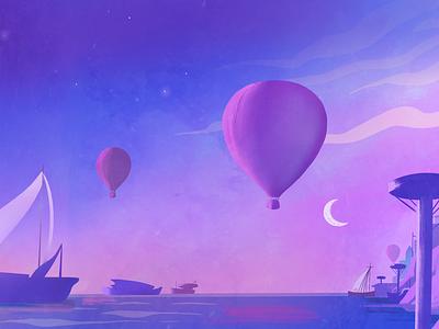 One Fly Harbor dreamy portal environment mood boats illustration branding