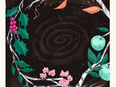 Color comp for tarot deck seasons leaves flowers branches plants illustration tarot