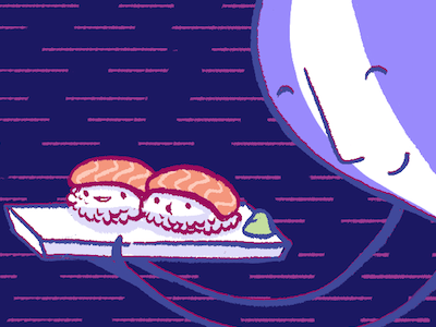 Sushi! illustration web hand drawn fly.io cartoon hero sushi