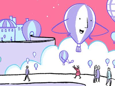Pink Sky illustration comic cartoon fly