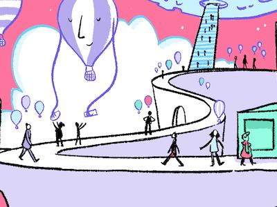 Take me Away cute illustration art graphic drawing line comic balloon