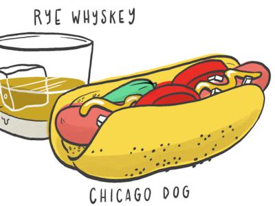 Hot diggity dawg! comic illustration. line hot dog food