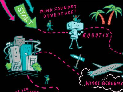 Making maps adventure kids school robot illustration map