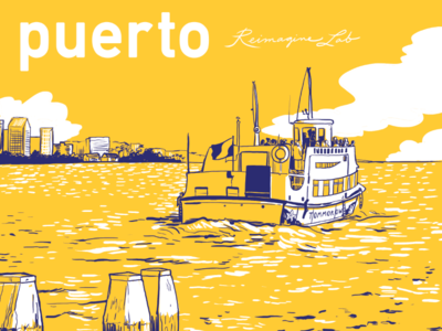 Puerto Poster for Blue Shield boat two color illustration poster
