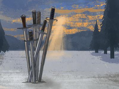 6 Swords, Spacious Tarot Deck digital texture sky sword game card illustration tarot