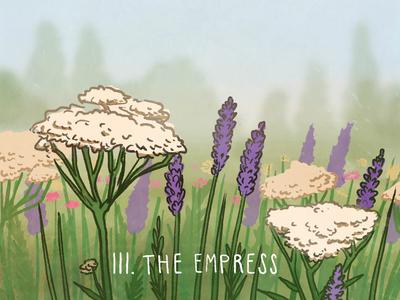 The Empress, Spacious Tarot hand drawn drawing art botanical lavender flowers illustration tarot