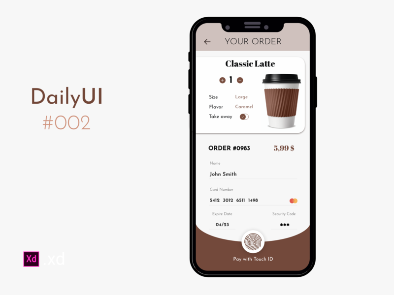 DailyUI #002 mobile designer ui kit touch id credit card checkout order payment coffeeshop mobile ui xd design mobile app mobile interface design dailyui category app app design app