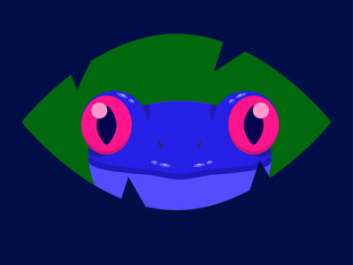 Blue Frog vector design minimal flat illustration