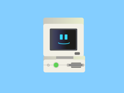 an old Dell pc minimal illustration vector design icon flat