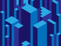 Blue Iso illustration design minimal vector flat