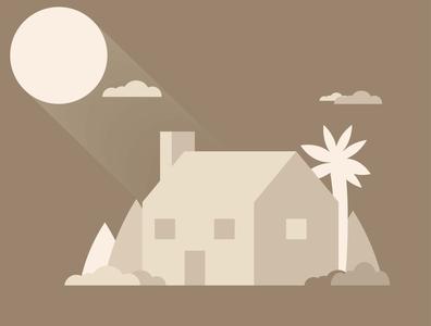 Brown house design minimal vector illustration flat