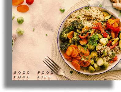 Good Food Good Life food illustration food and drink landing page food design figma