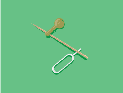 key and toothpick toothpick key illustration flat art animation minimal illustrator design