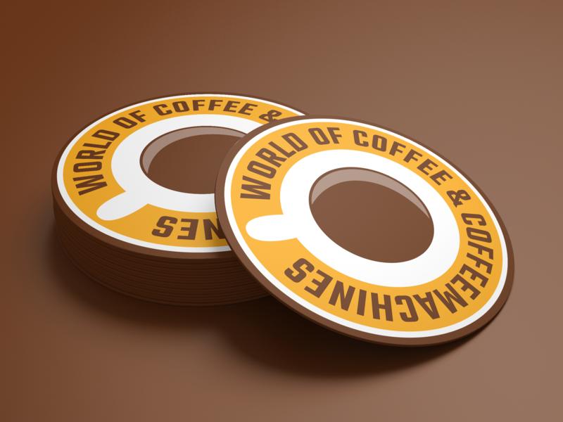 World of Coffee & Coffeemachines Round Coaster logotypes logotypedesign logo corporate identity design corporate identity brand identity design logotype design logotype brand identity coffee graphic  design design branding design branding