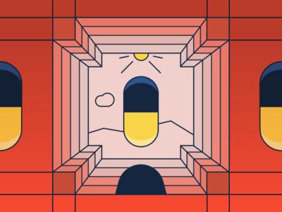 Epidemic red graphic design illustration opioids pills lines