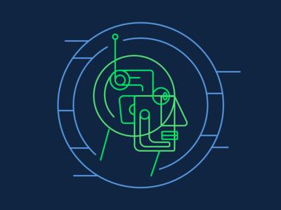 Wire-headed lineart sketch scifi cyberpunk