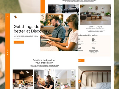 Coworking / Dormitory UI Design clean coworking web design ui design coliving dormitory coworking space ui user interface design
