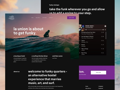 Funky Quarters web design user interface surf beach uiux ui design ui design hospitality hostel hotel