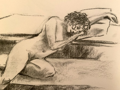 Despondent monochrome black and white woman human body nudeart nude charcoal drawing charcoal model figure drawing art drawing