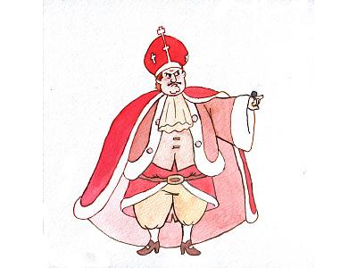 His Highness cartoon character cartoon royalty monarch king aquarelle watercolor editorial illustration illustration character design