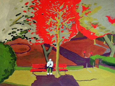 Picnic editorial art canvas illustration red red and green colorful brush stroke gouache landscape nature artwork art painting
