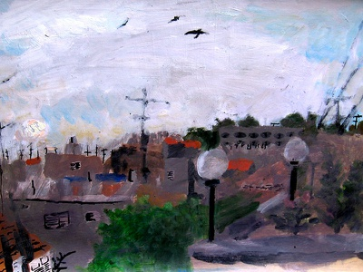 Air Pollution is a-Foggin' Up my Eyes rooftop environment pollution modern cityscape city art urban illustration gouache painting art