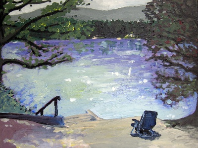 Lakeside vacation water sunny lake relax nature landscape pastel canvas acrylic painting acrylic painting new england art