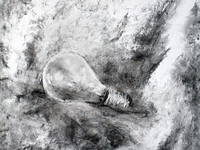 I've got it monochrome fabric lighting light bulb light still life black and white art charcoal drawing drawing