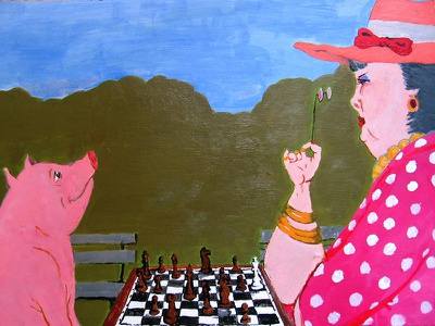 Checkmate checkmate chess pig painting acrylic painting acrylic character design cartoon art