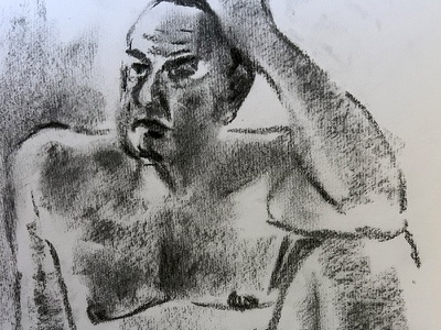 Meadnering male model man sitting thinking nude figure drawing portrait human body art black and white charcoal drawing drawing